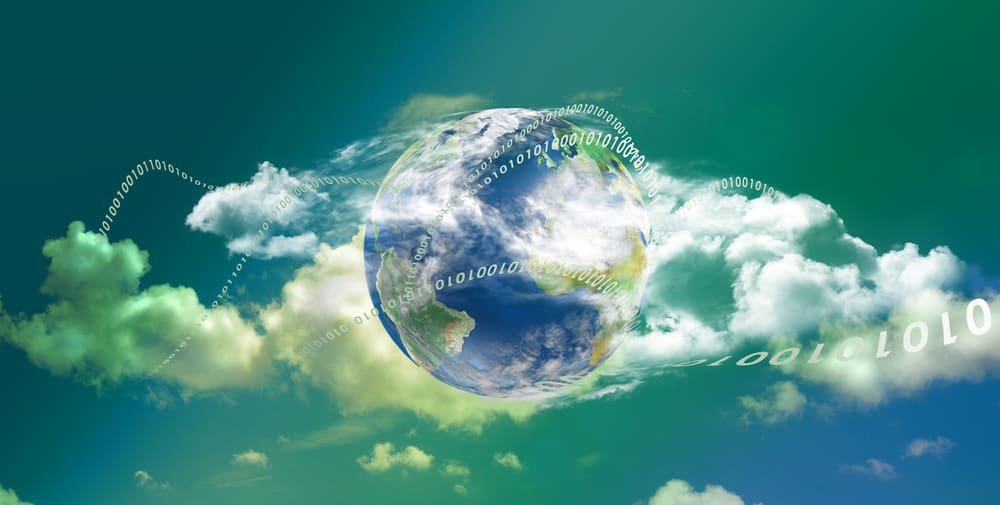 Cloud Computing technology panoramic - zeros and ones around earth