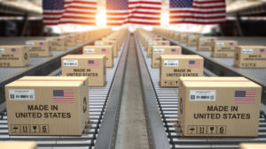 More Made in USA Malarkey - FTC Issues Consent Order - USA Flags and USA Boxes on Conveyer Belt